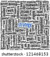 Strategy and teamwork concept in word tag cloud - stock photo