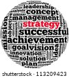 strategy info-text graphics and arrangement concept on white background (word cloud) - stock photo