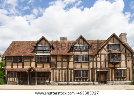STRATFORD-UPON-AVON, WARWICKSHIRE, UK - JUNE 24, 2016. The front of the house on Henley Street where the playwright William Shakespeare was born and raised which is a popular UK tourist attraction.