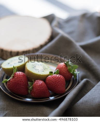 Strawberries and Kiwi Fruits