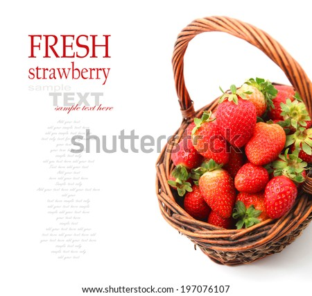 Strawberries in colorful bowls isolated on White