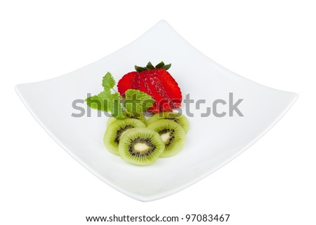 Strawberry and kiwi fruit on a plate with clipping path