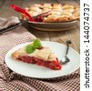 Strawberry and rhubarb pie - stock photo