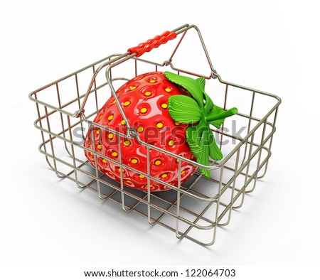 strawberry in basket isolated on a white background