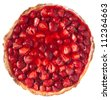 Strawberry pie top view of a white background - stock photo