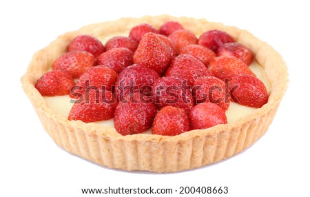 Strawberry tart isolated on white