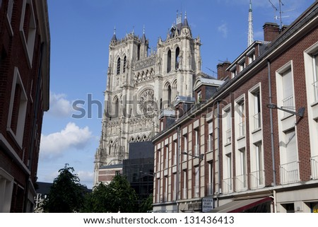 Street and Amiens Cathedral