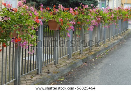 Street fence decorated with flowers