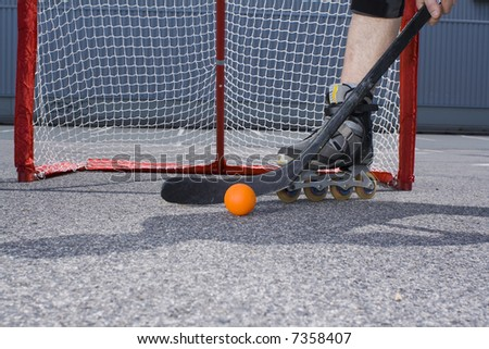 street hockey player in action
