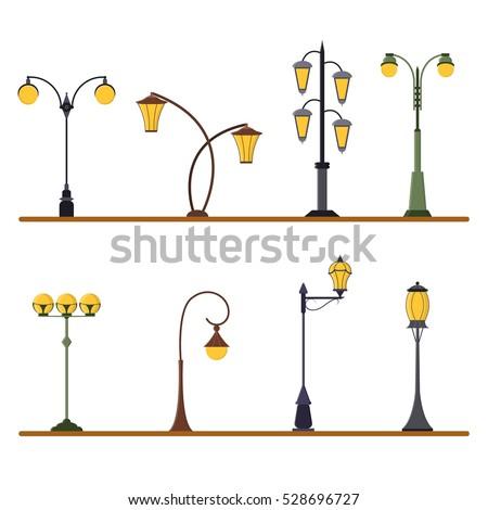 Street Light Set Outdoor Post Lights Stock Vector