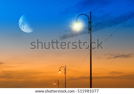 street lamps at moonlight