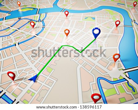 Street Map with GPS Icons. Navigation