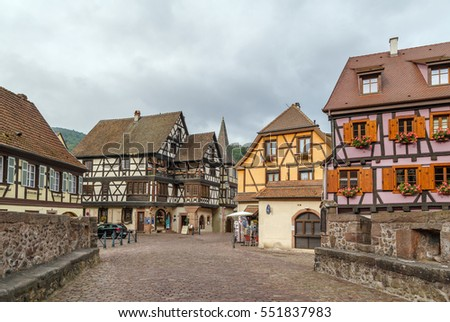 Street with historical  half-timbered houses in Kaysersberg, Alsace, France