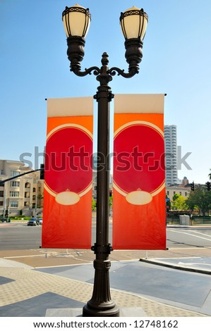 Streetlight banners with room to add your own text
