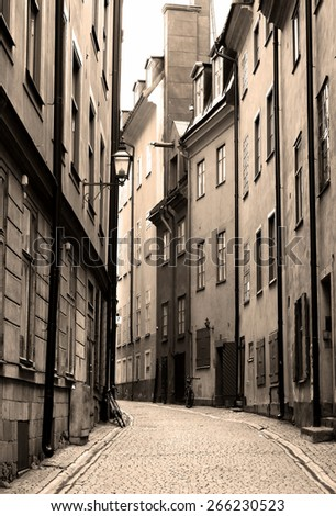 Streets of Gamla Stan in Stockholm, Sweden.