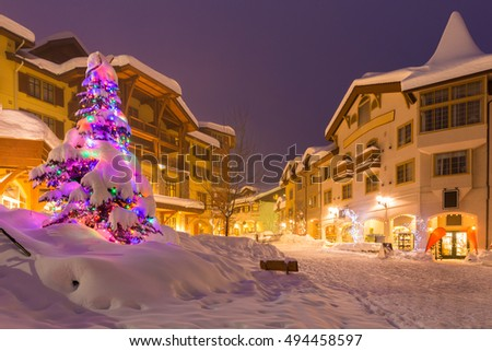 Streets of ski resort at night during festive season, Canada