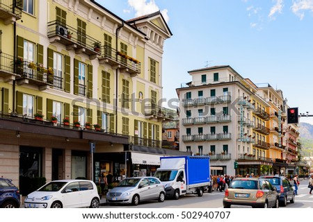 STRESA, ITALY - MAY 3, 2016: Architecture of the main street of Stresa, a town on the shores of Lake Maggiore, Verbano-Cusio-Ossola, Piedmont, Italy