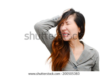 Stress. Woman stressed is going crazy pulling her hair in frustration. Close-up of Smart businesswoman on white.