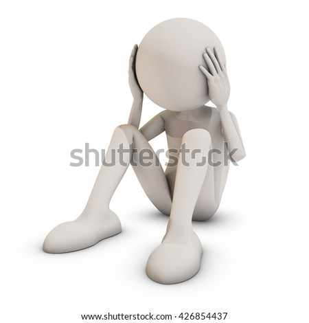 Stressed 3d man sitting on white background, 3D rendering