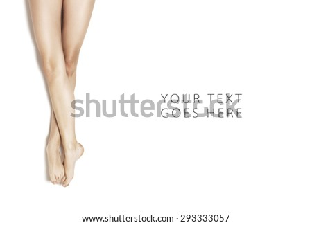 Stretched girl legs position on white background card
