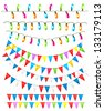 Strings of holiday lights and birthday flags white background.  Raster version - stock photo