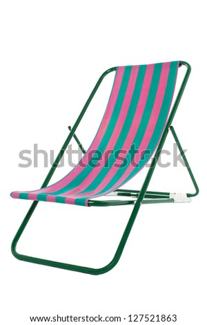 Striped beach bed isolated over white background.