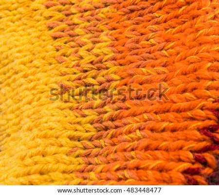 striped colorful wool texture handmade patten closeup macro  yellow orange