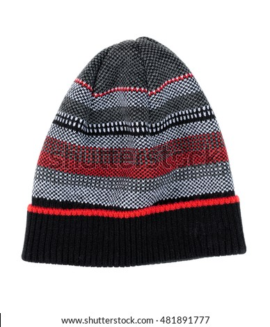 Striped knit cap. Isolate on white background.