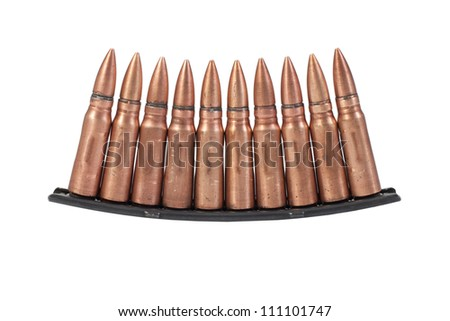 Stripper clip with m1943 training cartridge isolated on awhite background
