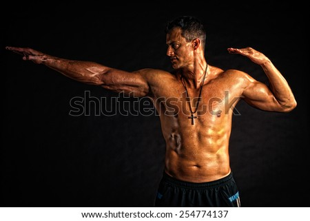 Strong golden man - sport gesture