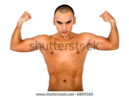 strong guy showing muscles isolated over white