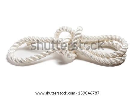 Strong nylon rope with a knot isolated on white
