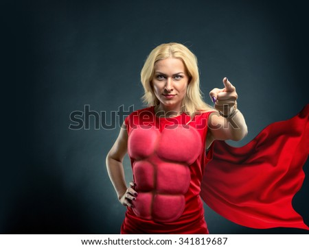 Strong woman superhero pointing to you
