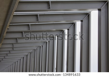 Structural steel framework on new industrial unit - stock photo