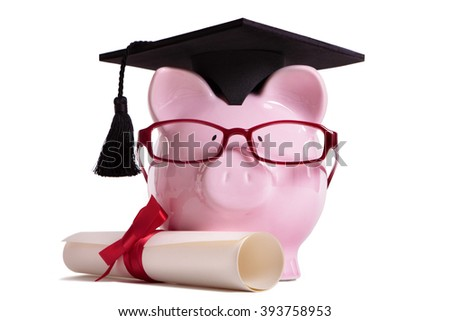 college graduate student diploma piggy bank stock photo  student college graduate piggy bank degree diploma isolated on white background front view