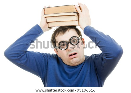 Student in glasses with a book on her head on white background