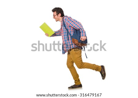 Student with books and backpack isolated on white