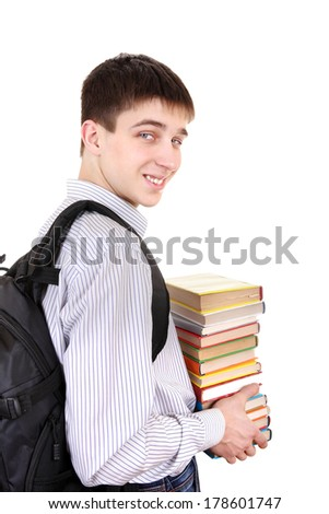 Student with Knapsack Holding the Books Isolated on the White Background
