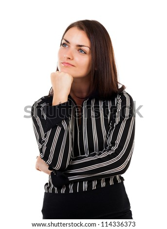 Studio closeup portrait of a young businesswoman isolated on white background