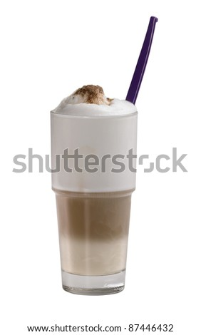 studio photography of a glass of latte macchiato in white back