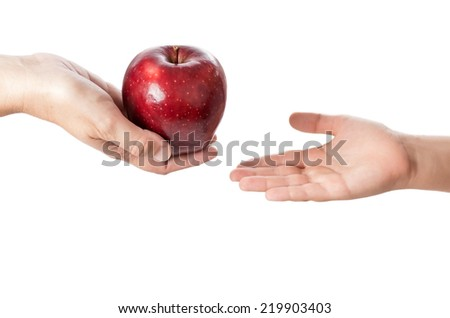 studio photography of hands holding a beautiful red apple