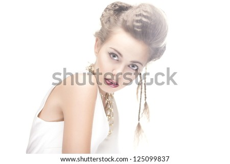 studio portrait of young beauty woman with stylish makeup on white background