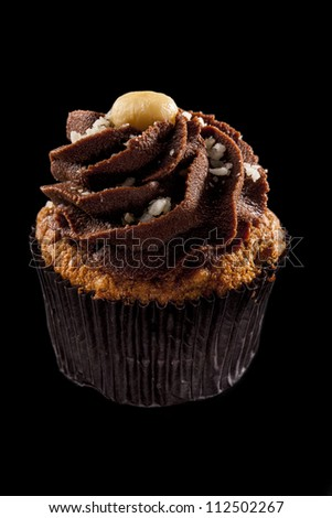 Studio shot of a cupcake, on a black background.