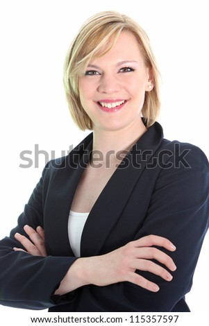 Studio shot of positive business woman with arms folded isolated on white
