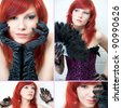 Studio shot of sensual red-haired caucasian young woman, collage - stock photo