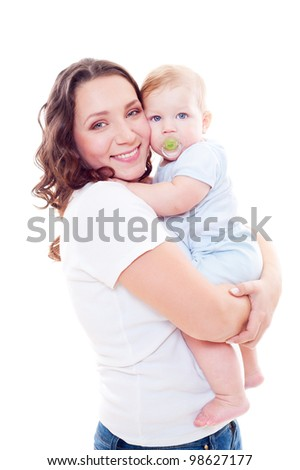 studio shot of young mother and son. isolated on white