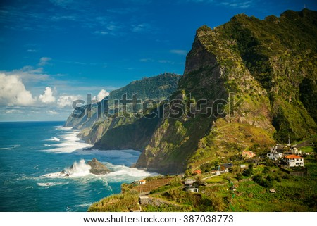 stunning view of rocky mountains and ocean on the northern coast of Madeira near Boaventura