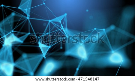 Stylish abstract engineering, technology and science background. Plexus style wallpaper. Polygons, lines and dots Illustration. Computer generated image. Depth of field settings. 3D rendering.