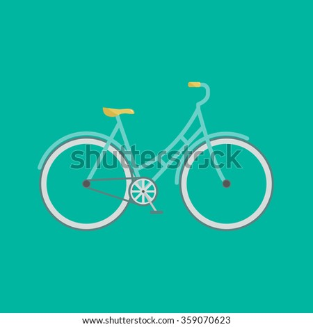 Stylish bicycle. Minimalistic flat bicycle illustration. Retro Illustration Bicycle. Modern flat illustration of stylish bicycle on green background isolated.
