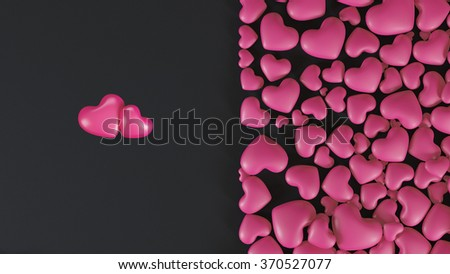 Stylish black background with pink hearts